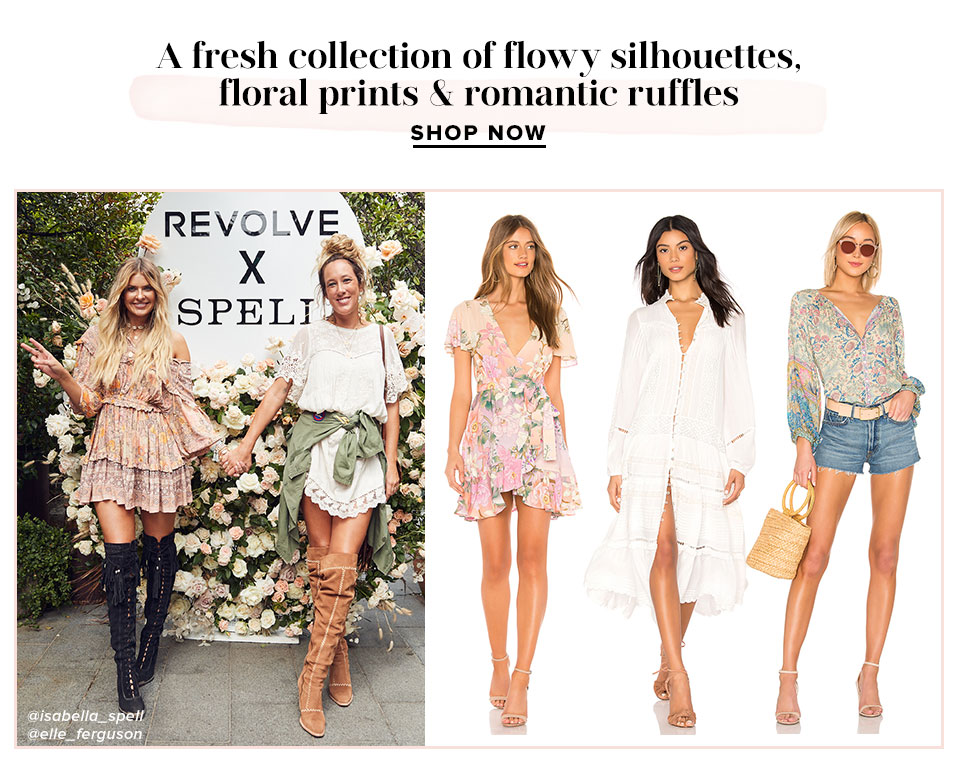 A fresh collection of flowy silhouettes, floral prints & romantic ruffles. Shop Now