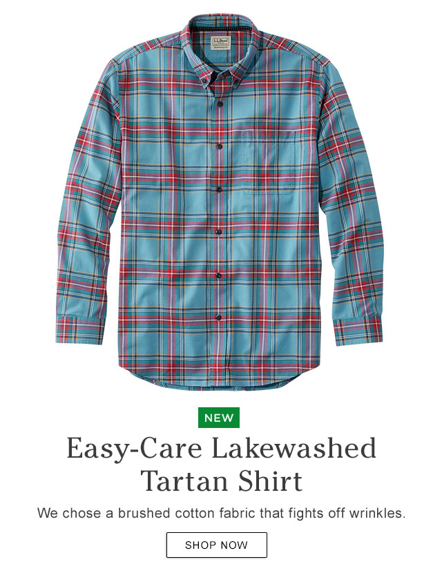 NEW. Easy-Care Lakewashed Tartan Shirt. We chose a brushed cotton fabric that fights off wrinkles.