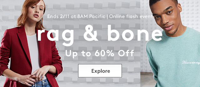 Ends 2/11 at 8AM Pacific | Online flash event | rag & bone | Up to 60% Off | Explore