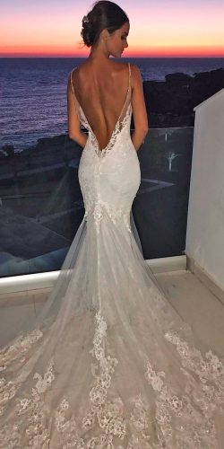 f4f7f08f2e4 mermaid wedding dresses lace low back spaghetti straps with train enzoani