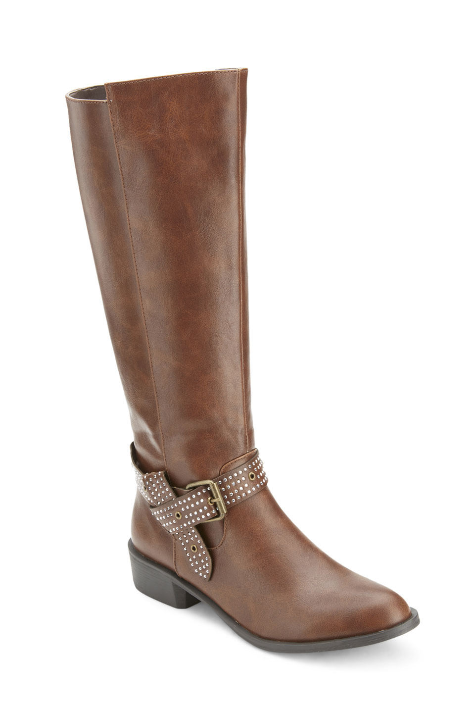 Whittier Studded Buckle Strap Riding Boots in Cognac