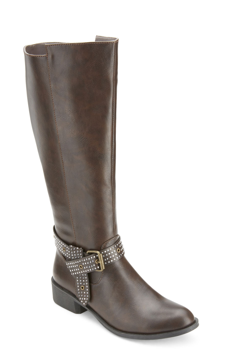 Whittier Studded Buckle Strap Riding Boots in Brown