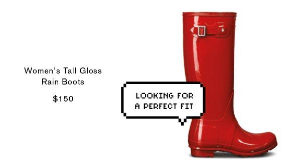 Women's Original Tall Gloss Rain Boots: Military Red