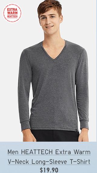MEN HEATTECH EXTRA WARM V-NECK LONG-SLEEVE T-SHIRT $19.90