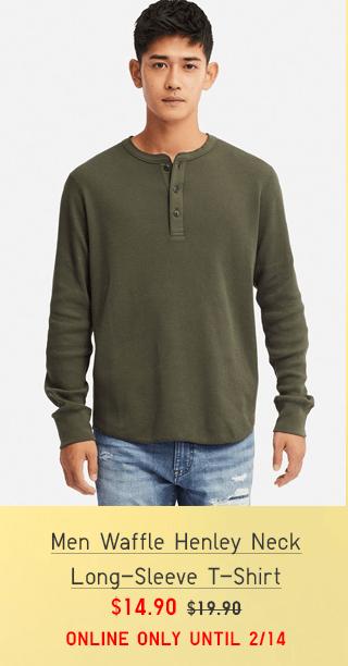 MEN WAFFLE HENLEY NECK LONG-SLEEVE T-SHIRT $14.90