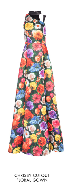 CHRISSY CUTOUT FLORAL GOWN
