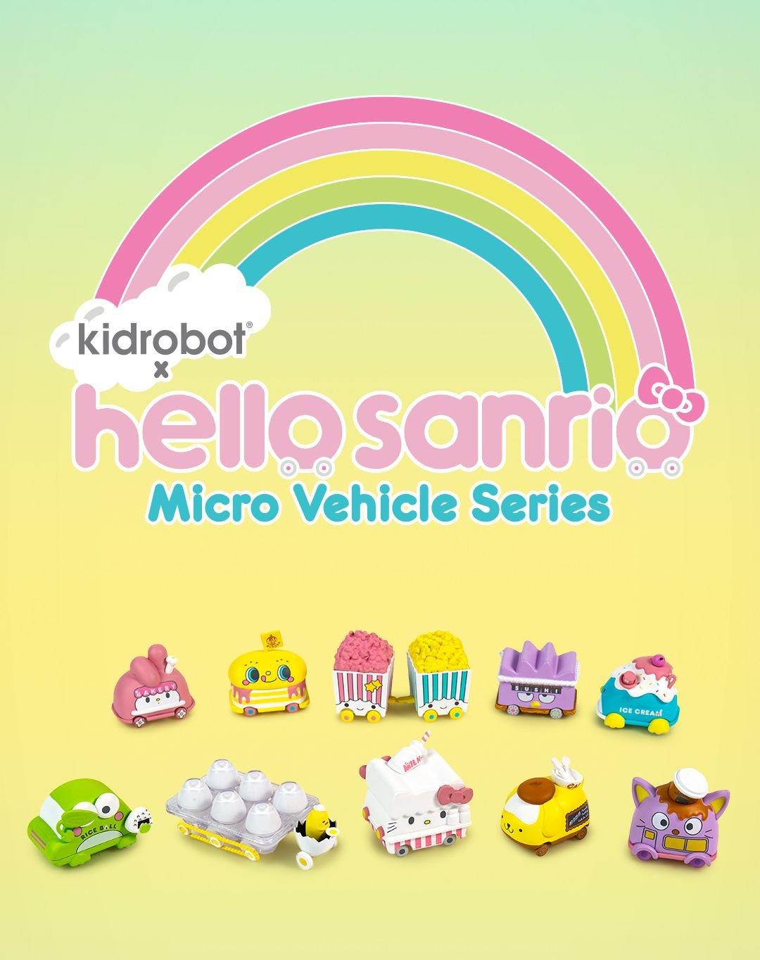 SET OF 10 HELLO SANRIO X KIDROBOT MICRO VEHICLE W// POUCH VINYL MINI FIGURE