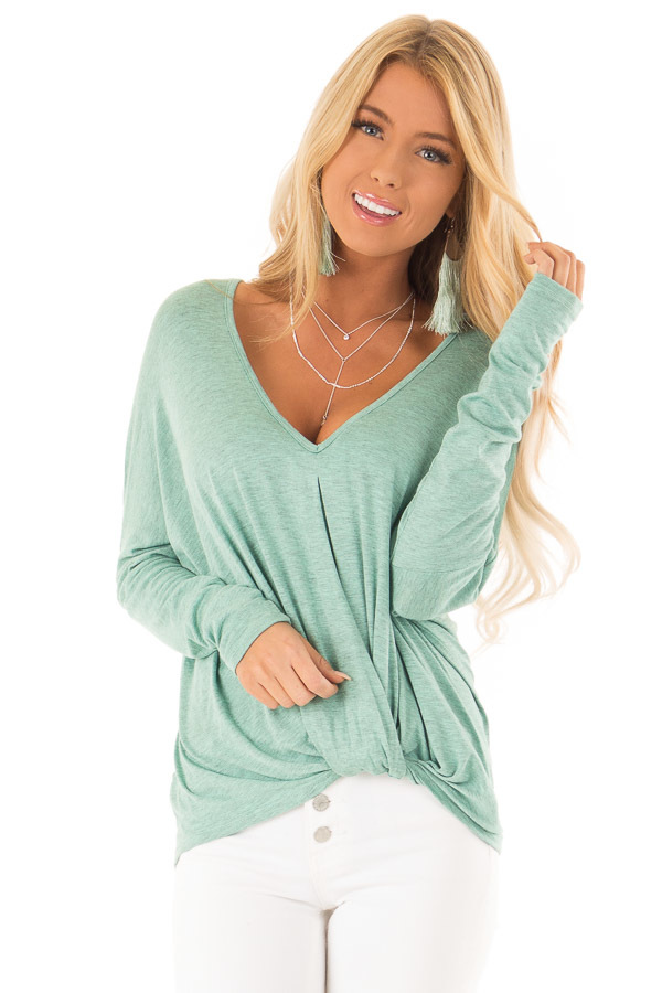 b07f76fc39bb3 Mint Two Toned Dolman Style Long Sleeve Top with Front Twist