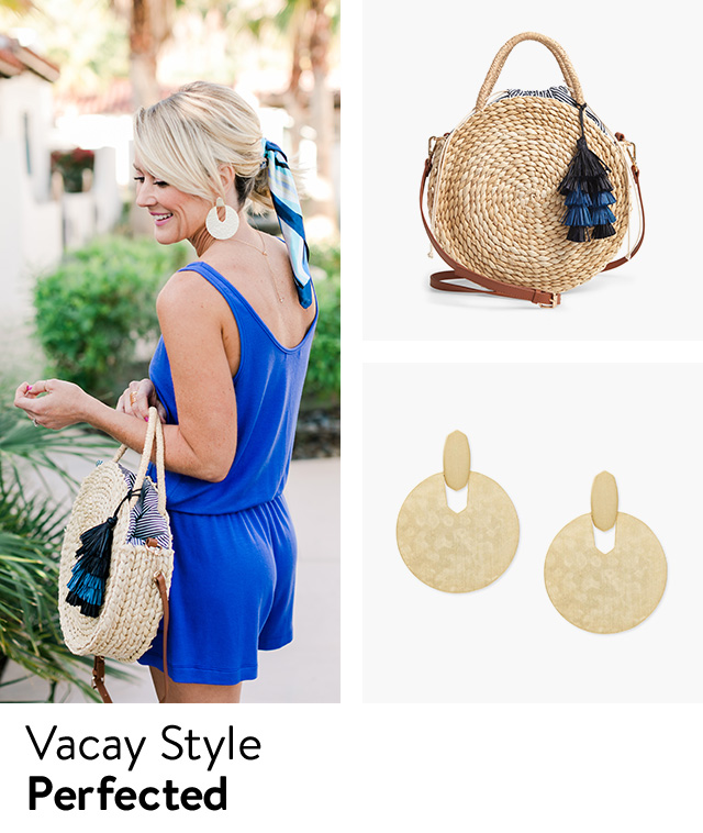 Handbags, jewelry and accessories for vacation.