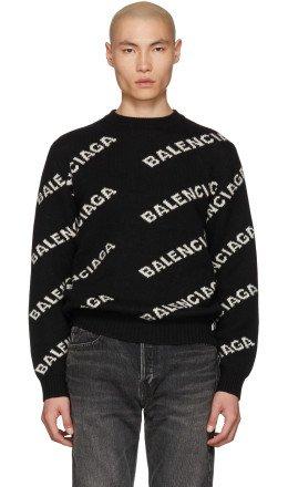 Balenciaga - Black & White Jacquard Logo Crewneck Sweater