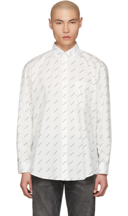 Balenciaga - White & Black Logo Normal Fit Shirt