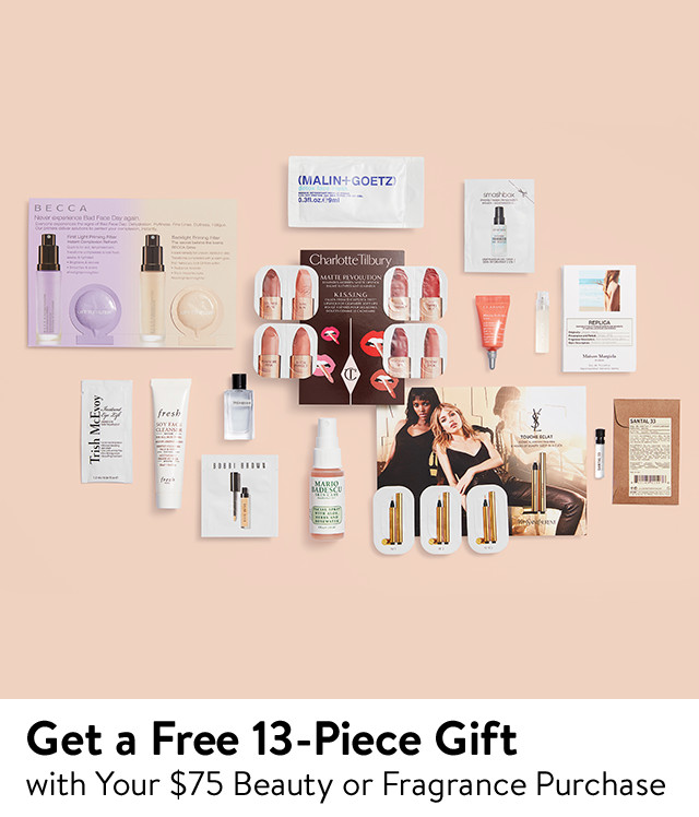 Free 13-piece gift with $75 beauty or fragrance purchase.