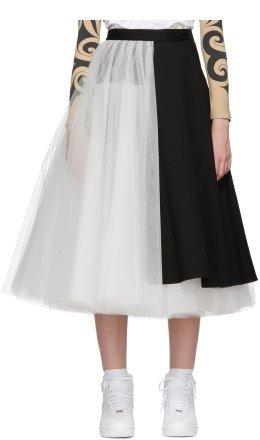 Junya Watanabe - Black & White Wool Tulle and Tuxedo Mix Skirt