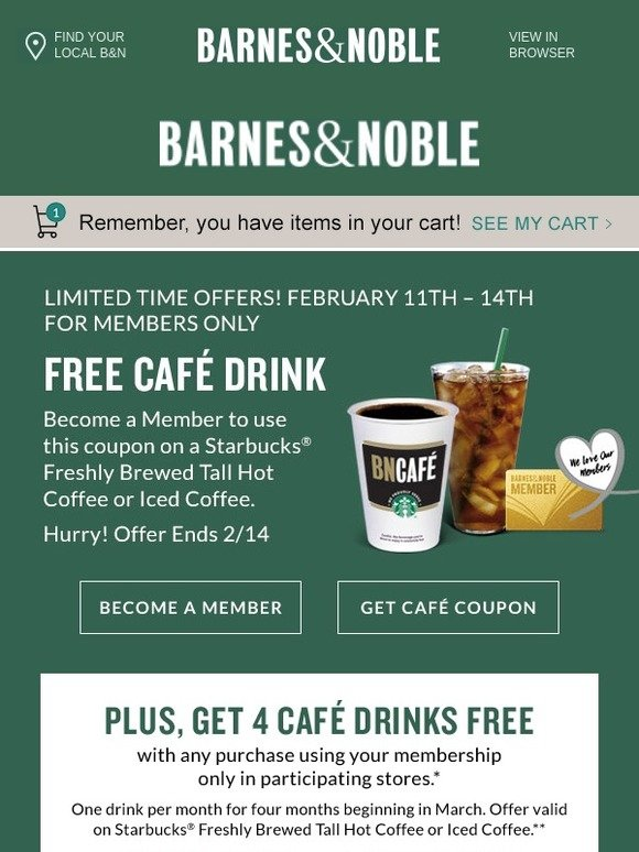 Barnes & Noble: Become a Member to Use this FREE Cafe Drink