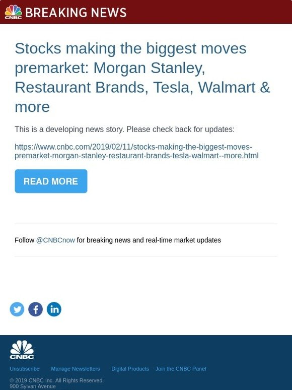 CNBC: Stocks making the biggest moves premarket: Morgan