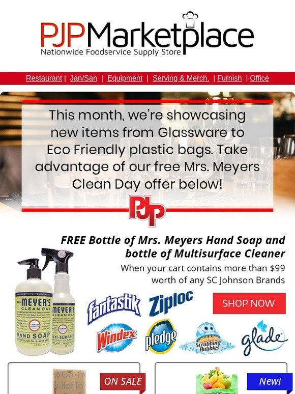 PJP Marketplace: Free Mrs  Meyers Clean Day, New Arcoroc Glassware