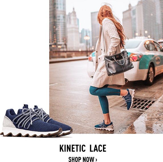 Image of a woman wearing Kinetic Lace Sneaks in a city, Image of a pair of spring Kinetic Laces on a white background
