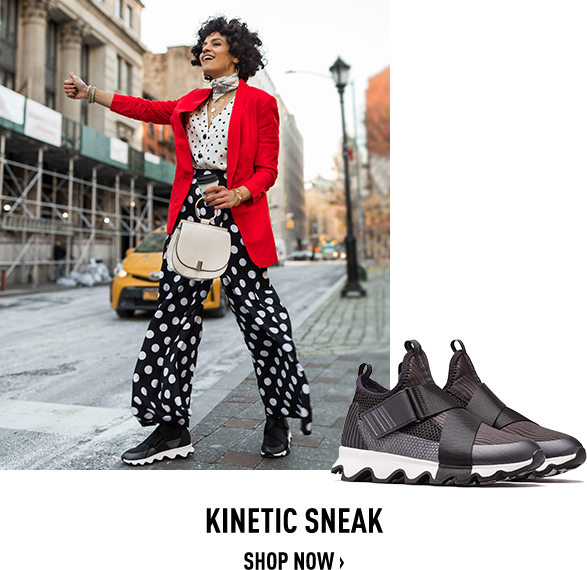 Image of a woman wearing Kinetics in a city, Image of a pair of spring Kinetic Sneaks on a white background