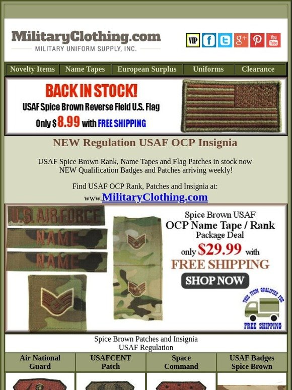 Military Uniform Supply: Free Shipping on Air Force OCP