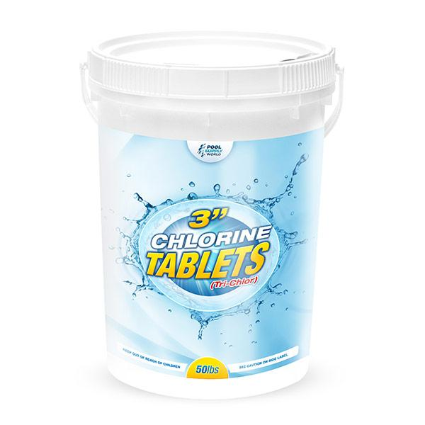 3in. 50lb Pool Chlorine Tablets, Tri-Chlor Slow Dissolving Chlorine