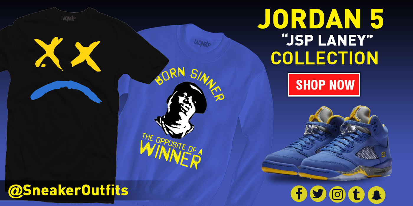 aa4d3ec1c8b Jordan 5 JSP Laney lacing up logo royal blue crewneck-Lacing Up