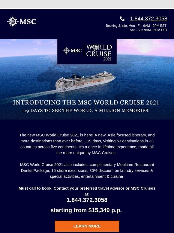 MSC Cruises: MSC World Cruise: 53 Destinations, 33 Countries