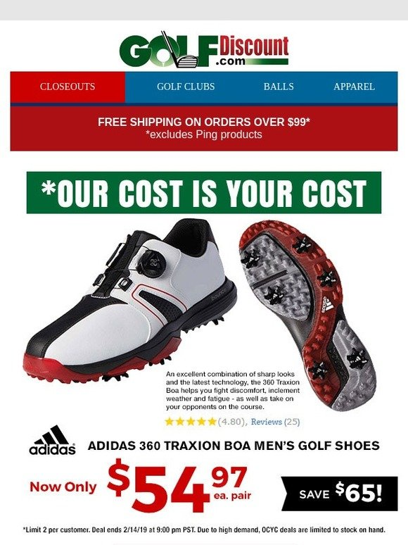 O cualquiera importar compensar  Golf Discount .com: Save $65 on Adidas 360 Traxion BOA Golf Shoes, Select  Color Just $54.97! | Milled