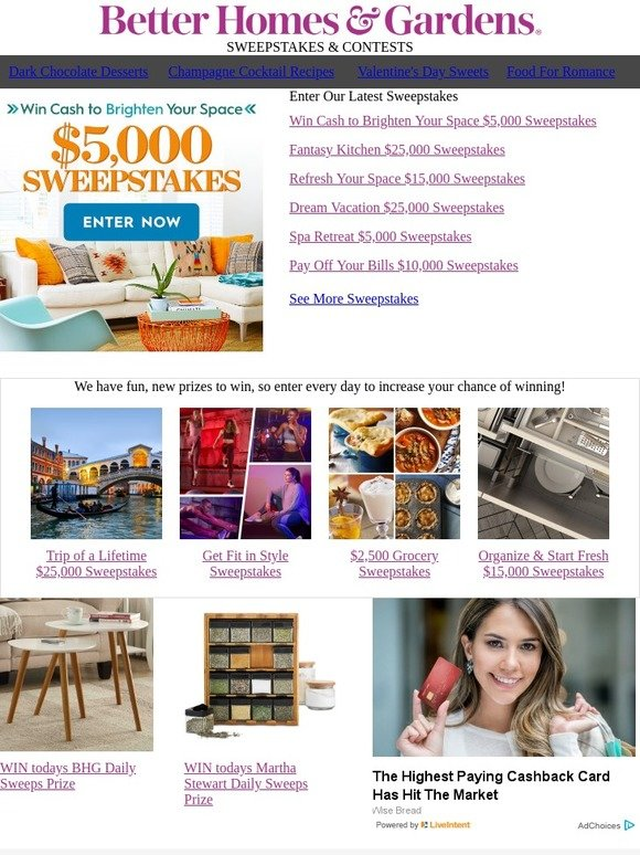 Better Homes and Gardens: Enter to WIN $5,000 Cash to