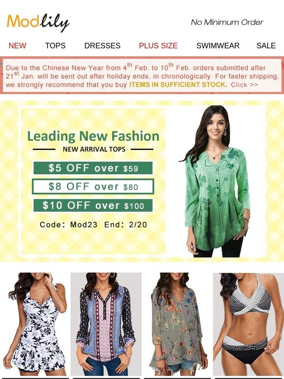 1474f9185c7 Modlily.com  Wednesday Offer!  23 Coupon for You!
