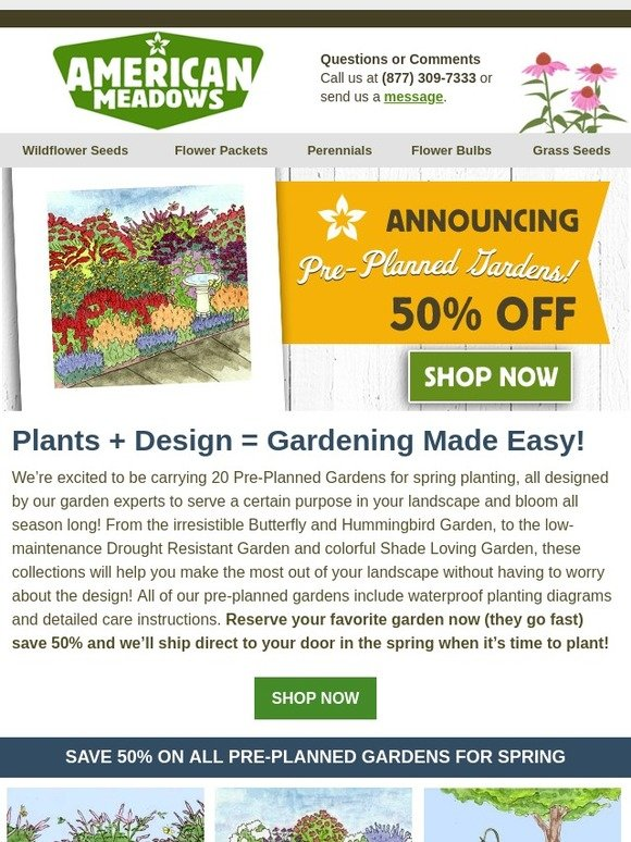American Meadows They Re Back Pre Planned Gardens At 50 Off
