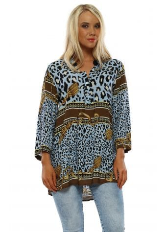 Baby Blue Leopard & Chain Print Tunic Top