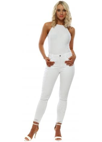 White Pearl Embellished Stretch Fit Jeans