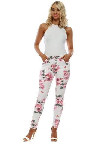 White & Pink Floral Print Skinny Jeans