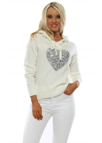 Ivory Soft Knit Sequin Heart Hoodie