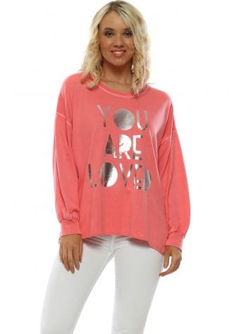 Coral You Are Loved Sweater