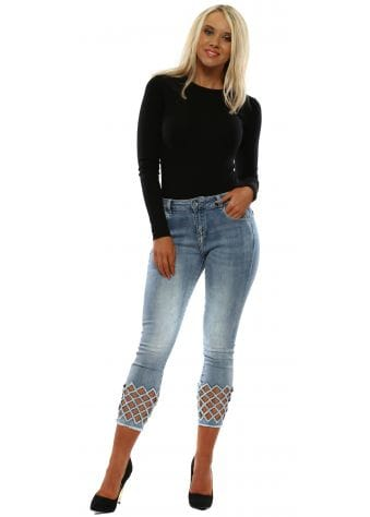 Blue Crystal Cut Out Cropped Jeans