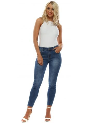 Blue Denim Crystal Butterfly Ankle Skinny Jeans