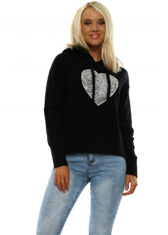 Black Soft Knit Sequin Heart Hoodie