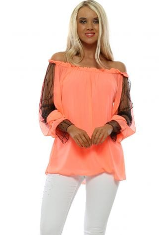 Neon Coral Lace Sleeve Bardot Top