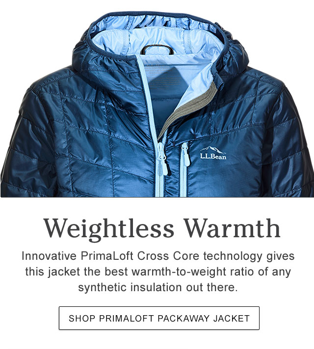 Weightless Warmth. PrimaLoft Cross Core technology gives this jacket the best warmth-to-weight ratio of any synthetic insulation out there. Ideal for wet or dry conditions.