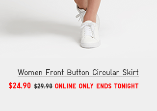 WOMEN FRONT BUTTON CIRCULAR SKIRT $24.90