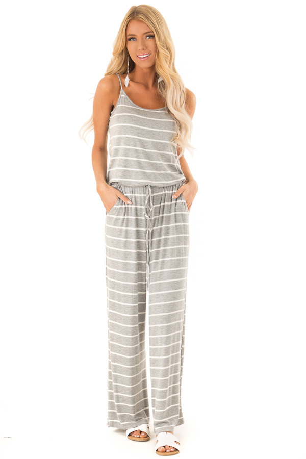 f53e1dc1fecd Heather Grey Striped Spaghetti Strap Jumpsuit with Waist Tie