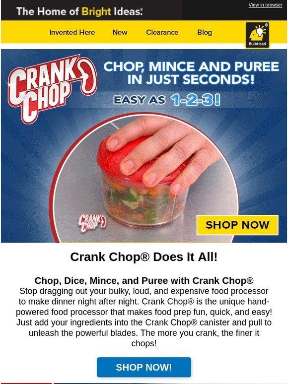 BulbHead: Speed Up Dinner Prep with Crank Chop®! | Milled