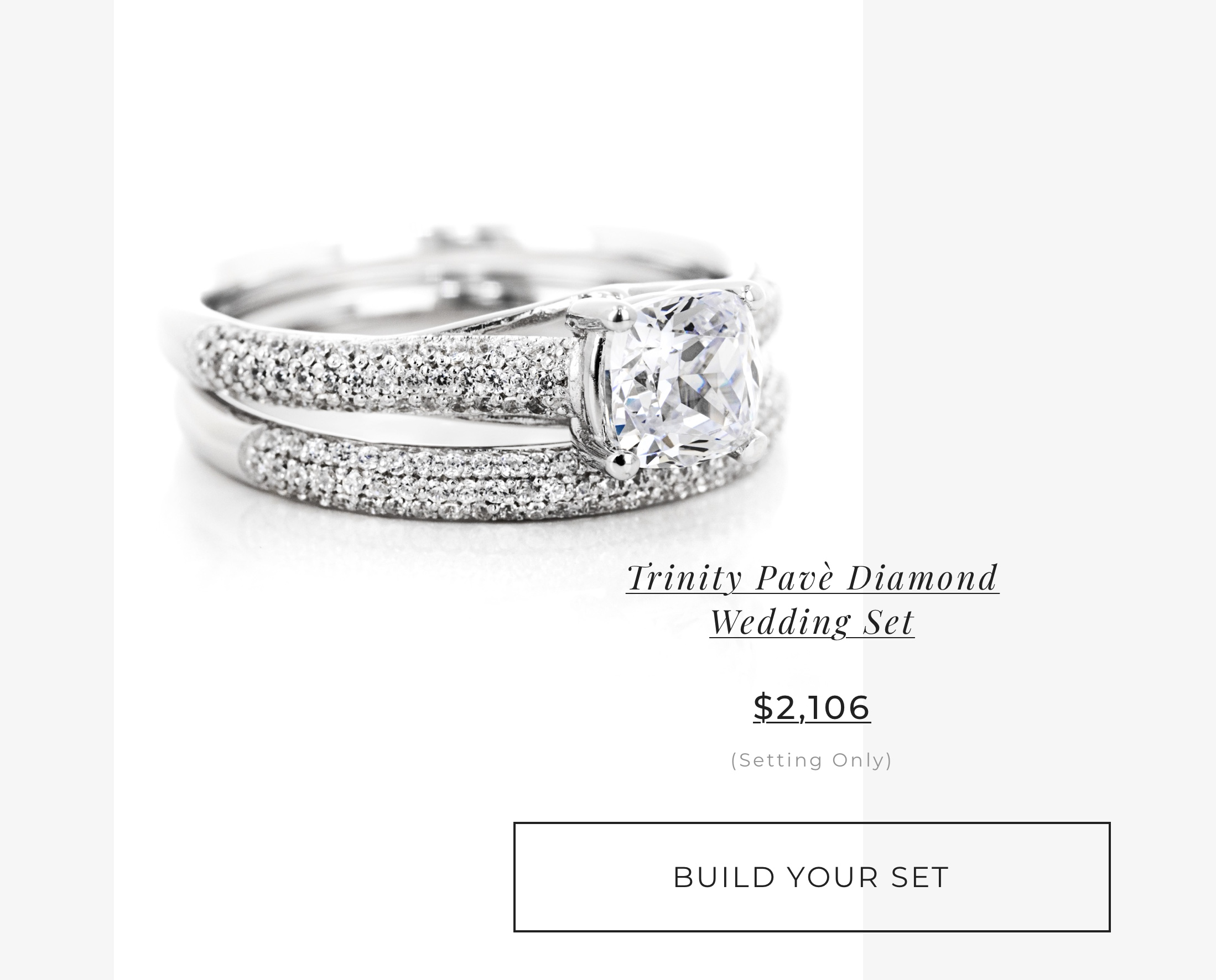 Trinity Pave' Wedding Set