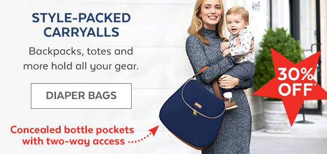 Style-packed carryalls | Backpacks, totes and more hold all your gear. | Diaper Bags | Concealed bottle pockets with two-way access | 30% off*