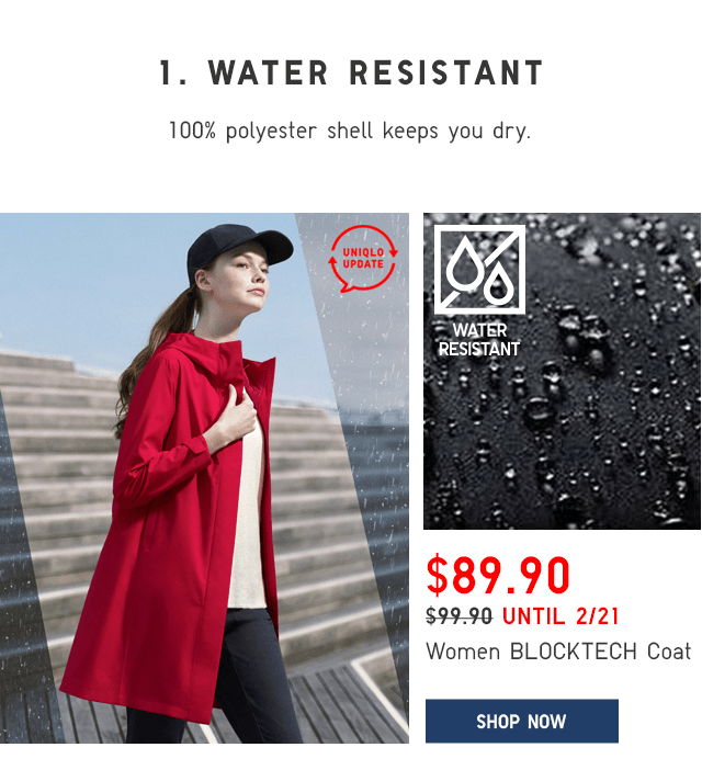 WOMEN BLOCKTECH COAT $89.90 - SHOP NOW