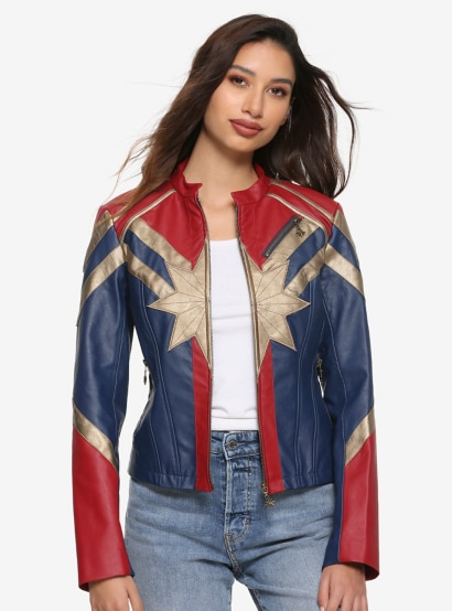 Her Universe Captain Marvel Star Faux Leather Jacket