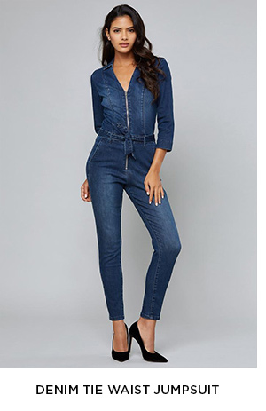 DENIM TIE WAIST JUMPSUIT