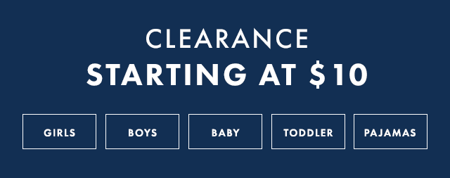 Clearance starting at ten dollars