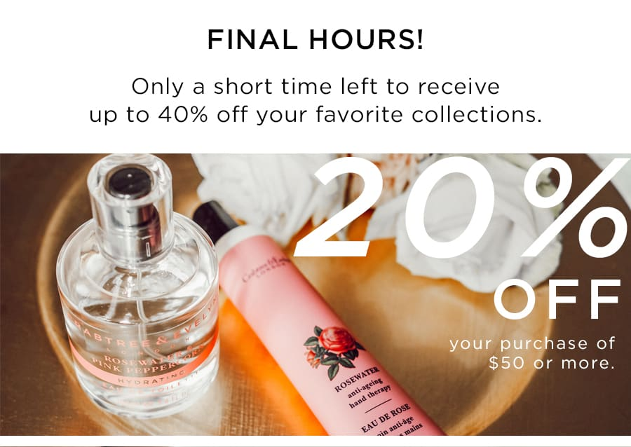 20% OFF $50 or more